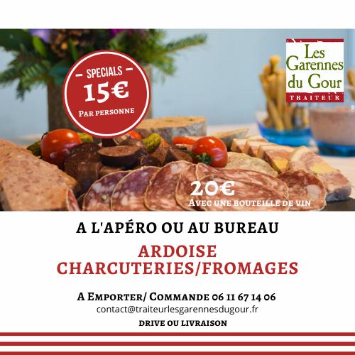 Les Garennes du Gour traiteur brive cosnac corrèze plat à emporter ardoise charcuterie fromage